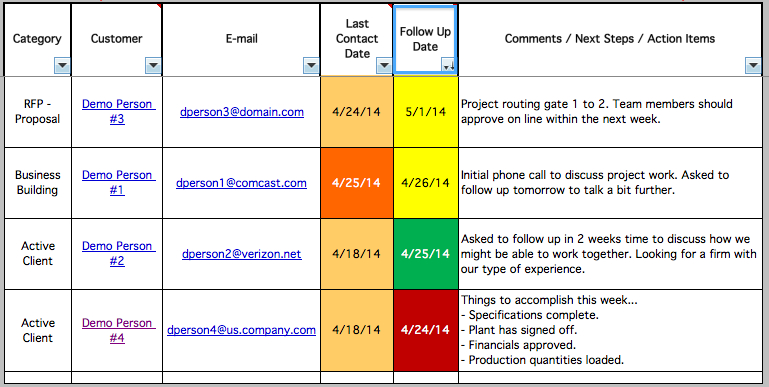project follow up template excel red light green light w5 templates an excel based crm