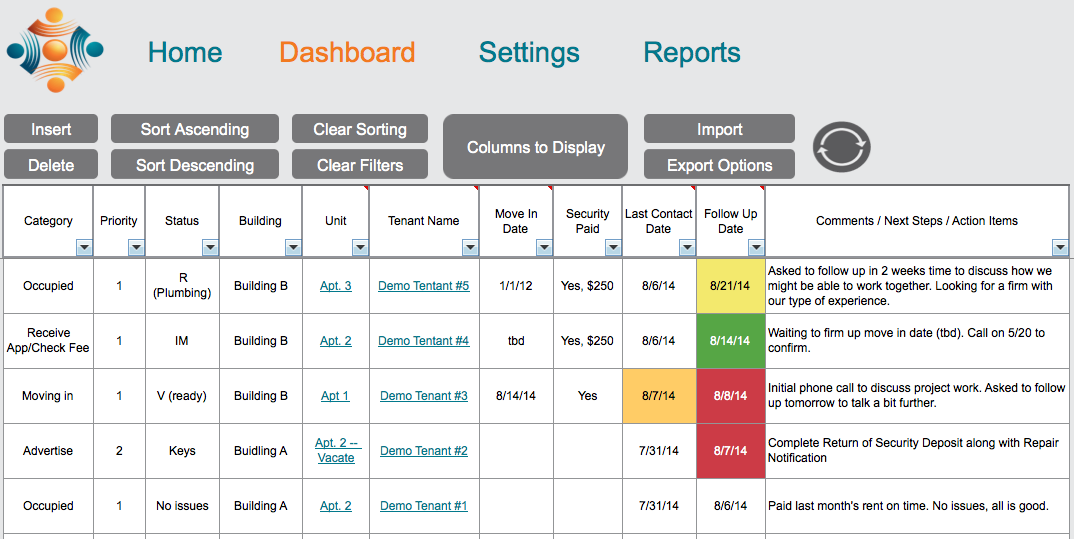 property management dashboard w5 templates